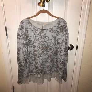 Lauren Conrad sweater top with lace trim XL blue